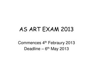 AS ART EXAM 2013