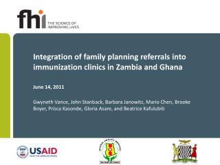 Integration of family planning referrals into immunization clinics in Zambia and Ghana