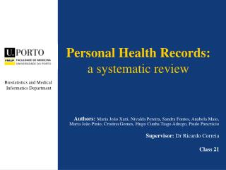 Personal Health Records: a  systematic  review