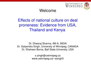 Welcome Effects of national culture on deal proneness: Evidence from USA, Thailand and Kenya