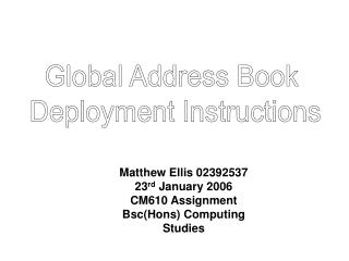Global Address Book  Deployment Instructions