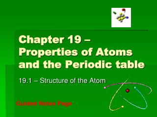 Chapter 19 – Properties of Atoms and the Periodic table
