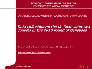 Data collection on the de facto same sex couples in the 2010 round of Censuses