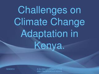 Challenges on Climate Change Adaptation in Kenya.