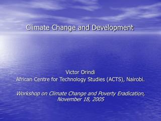 Climate Change and Development