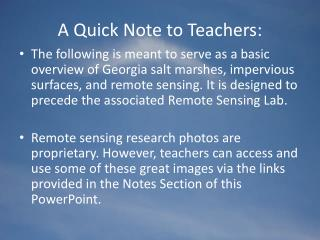 A Quick Note to Teachers: