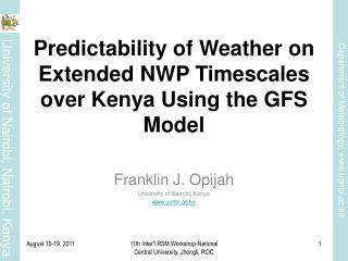 Predictability of Weather on Extended NWP Timescales over Kenya Using the GFS Model