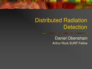 Distributed Radiation Detection