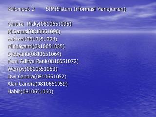 Kelompok 2       SIM(Sistem Informasi Manajemen) Candra  Rizky(0810651095) M.Sanusi(0810651096)