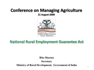 Conference on Managing Agriculture 21 August 2009