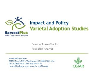 Impact and Policy Varietal Adoption Studies