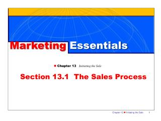 Section 13.1  The Sales Process