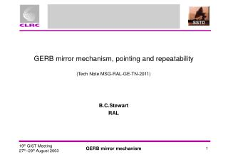 GERB mirror mechanism, pointing and repeatability (Tech Note MSG-RAL-GE-TN-2011)