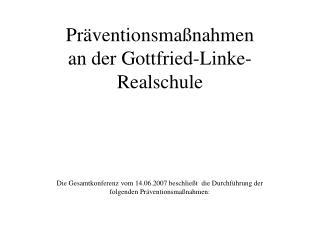 Pr ventionsma nahmen an der Gottfried-Linke-Realschule