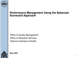 Performance Management Using the Balanced Scorecard Approach