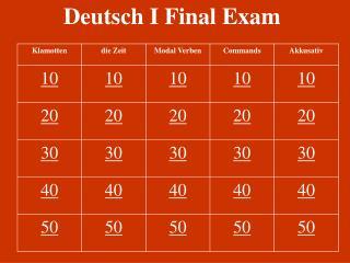 Deutsch I Final Exam