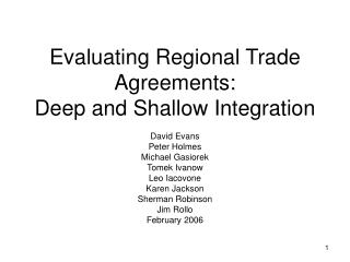 Evaluating Regional Trade Agreements:  Deep and Shallow Integration