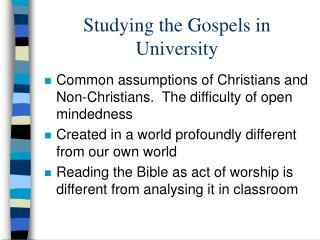 Studying the Gospels in University