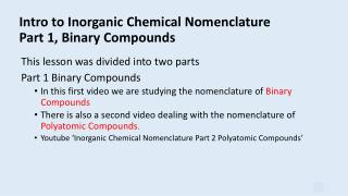 Intro to Inorganic Chemical Nomenclature Part 1, Binary Compounds