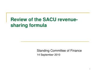 Review of the SACU revenue-sharing formula