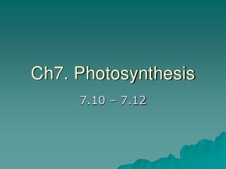 Ch7. Photosynthesis