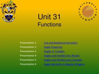 Unit 31 Functions