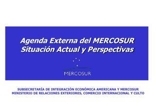 Agenda Externa del MERCOSUR Situaci�n Actual y Perspectivas