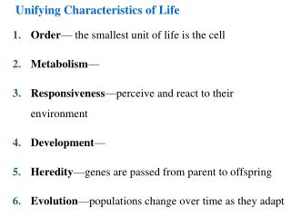 Unifying Characteristics of Life