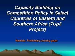 Namibia: Preliminary country paper