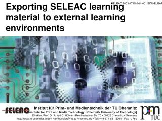 Exporting SELEAC learning material to external learning environments