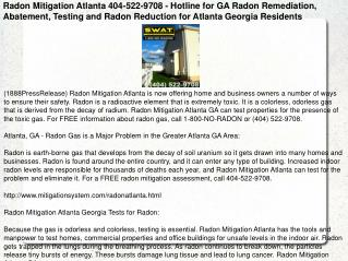 Radon Mitigation Atlanta 404-522-9708 - Hotline for GA Radon