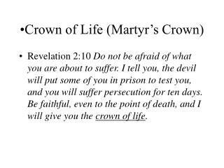 Crown of Life (Martyr's Crown)