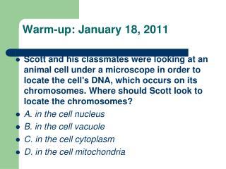 Warm-up: January  18, 2011