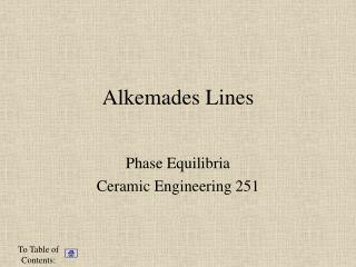 Alkemades Lines