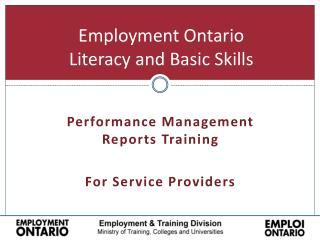 Employment Ontario Literacy and Basic Skills