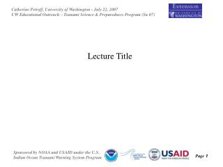 Lecture Title