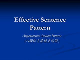 Effective Sentence Pattern