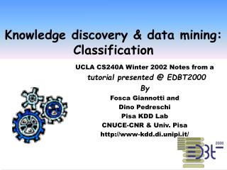 Knowledge discovery & data mining:  Classification