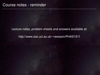 Course notes - reminder