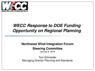 WECC Response to DOE Funding Opportunity on Regional Planning