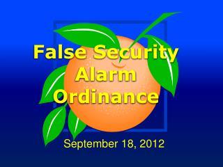 False Security Alarm Ordinance