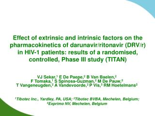 Effect of extrinsic and intrinsic factors on the pharmacokinetics of darunavir
