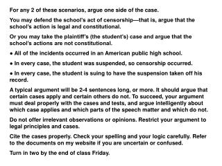 For any 2 of these scenarios, argue one side of the case.