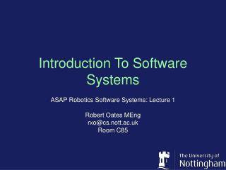 Introduction To Software Systems
