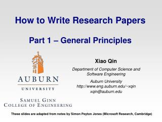How to Write Research Papers Part 1 – General Principles