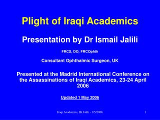 Plight of Iraqi Academics