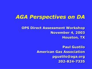AGA Perspectives on DA