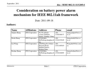 Consideration on battery power alarm mechanism for  IEEE 802.11ah framework