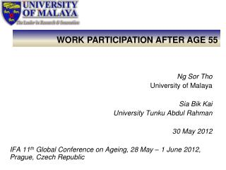 Ng Sor Tho University of Malaya Sia Bik Kai University Tunku Abdul Rahman 30 May 2012