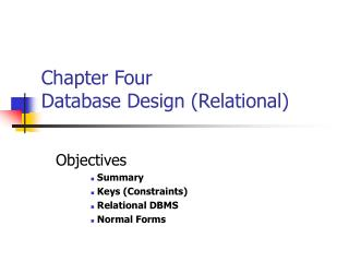 Chapter Four Database Design (Relational)